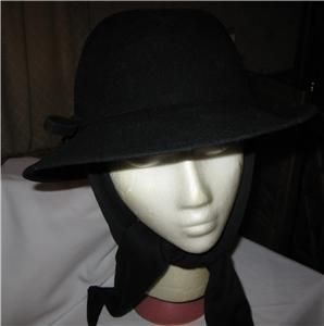 NWT Betmar Black Wool Fedora Hat with Attached Scarf Style #5923