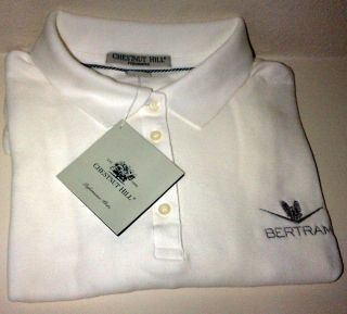 Bertram Yacht Sport Fishing Boat Chestnut Hill Polo Shirt White L XL
