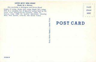 Advertising, Piano, Lester Betsy Ross Spinet, Model 46 in Walnut