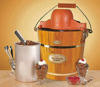 HOMEMADE ICE CREAM MAKER ELECTRIC 4 QUART WOODEN BUCKET MACHINE ICMW