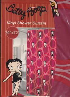 Vintage King C2005 Betty Boop Shower Curtain NIP 70x72 Red Vinyl by