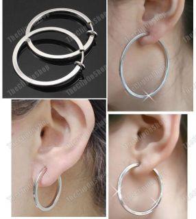 on 2 5cm 3 5cm 5cm Silver Tone Hoops Big Hoop Earrings 1 2