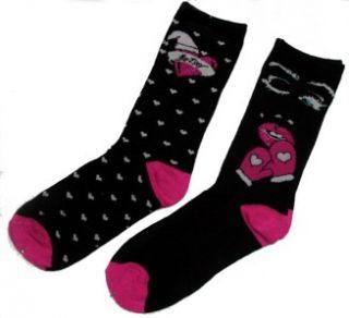 Betsey Johnson MARILYN MONROE & Hearts Pink Black Glitter Socks Ws 9