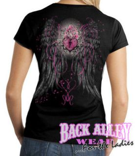 ANGEL WINGS HEART LOCK LADIES JUNIORS FIT T SHIRT S 2XL TRENDY TATTOO