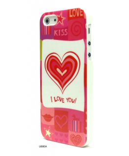 Love You Kiss Red Big Heart Hard Plastic Skin Cover Case for iPhone
