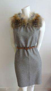 PRADA/Miu Miu Virgin Wool Angora Fox FUR COLLAR Dress IT42/US8 NWT