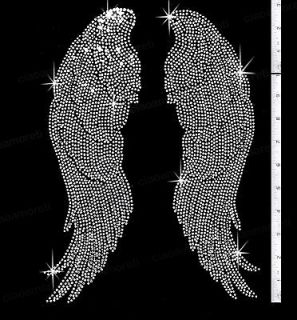 Large silver Angel wings rhinestone iron on transfers   14 tall