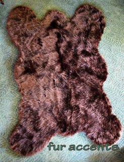 PLUSH BEAR SKIN AREA RUG FAUX FUR ACCENT FAKE SHEEPSKIN THROW LOG