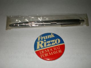 Vintage Betty Ford Presidential Gift Pen & Frank Rizzo Pin Phila. No