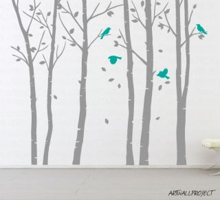 Wall Art Vinyl Decal Leafy Birch Tree 101 with Birds