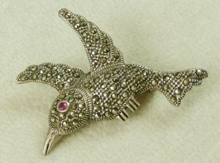 Marcasite Sterling Silver Bird Brooch with Ruby Eyes