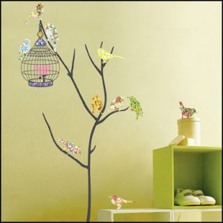 Bird Cage Decor Mural Art Wall Paper Sticker PS58073