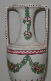 Antique Italian Majolica Pottery Rose Garland Urn Vase