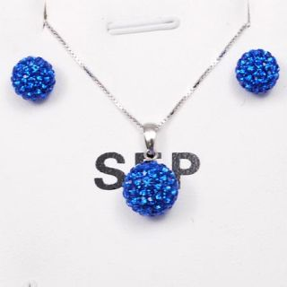 Silver Crystal Ball Earring Necklace Jewelry Set Sep Birthstone