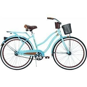 Blue Womens Deluxe Cruiser Bike Bicycle w/ Basket Drink Holder FAST