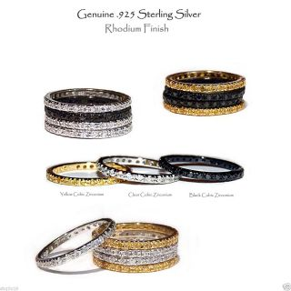 Silver Gold or Black Eternity Stackable Rhodium Ring Sizes 4 10