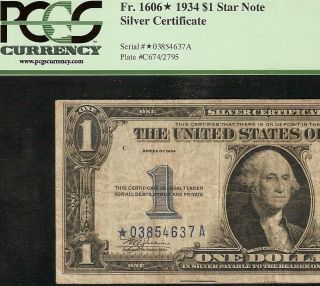 1934 1 DOLLAR BILL STAR SILVER CERTIFICATE FUNNYBACK NOTE Fr 1606 PCGS