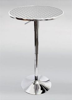 Bistro Bar Table w Adjustable Height Chrome Finished Base
