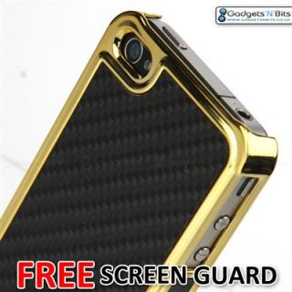 RED REAL CARBON FIBRE METALLIC CASE COVER FOR APPLE iPhone 4 4S