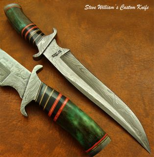 Steve William 1 of A Kind Awesome Custom Damascus Bowie Knife Fossil