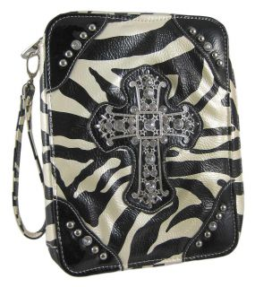 Zebra Print Bible Cover Rhinestone Cross Black Trim Color BLACK