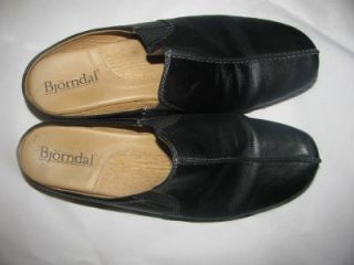 Bjorndal Womens Walking Comfort Mules Clogs Shoes Black Leather Size 7