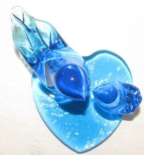 Leo Ward Double Blue Bird of Happiness Glass Heart Base Two Bluebirds