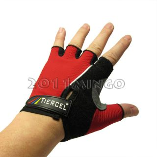 Cycling Bicycle Bike Half Finger Gloves Red L