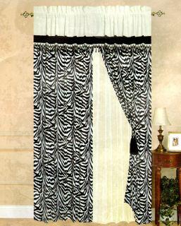 Black White Micro Suede Zebra Stripe Window Curtain Set