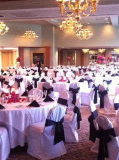 Wedding  160 White Chair Covers with Black Satin Sash  Perfect