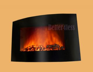 Black Wall Mounted Electric Fireplace Control Remote Heater Firebox