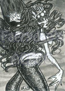OOAK Mermaid Original ACEO XR Sexy Fantasy Sketch Card Fdae PSC MRMD
