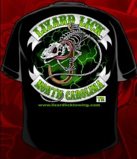 this is the lizard lick towing black biker t shirt