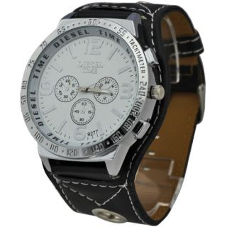 White Great Dial Mens Big Face Quartz Leatheroid Wrist Watch Watches