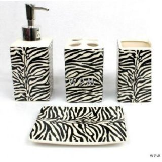 Bath Accessory Set 4 PC Black White Zebra Animal Print Bathroom Vanity