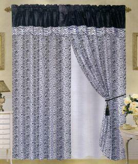 new safari zebraflocking black white satin curtain set includes 2