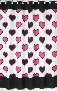DESIGNS HEARTS TEEN MODERN BLACK WHITE PINK SHOWER CURTAIN BATH DECOR