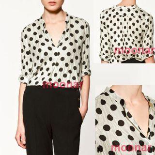 Womens Crew Neck Polka Dots Shirt Long Sleeve Career Casual Tops
