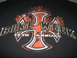 Bike Week Tee Shirt Black Large T Shirt 66th Annual Rally Hog
