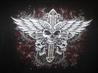 Skulls Wings Cross Biker Tattoo Hoodie Mens Hanes