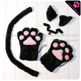 Black cat cosplay anime character fox costume cool accessory ear paw