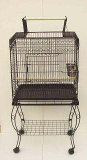 Parrot Bird Cage Play Top w Stand 24x16x46 Black Vein