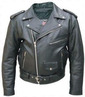 Mens Tall Biker Buffalo Hide Leather Motorcycle Jacket