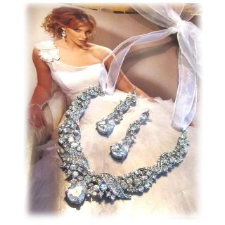 Gorgeous OOAK HANDMADE Bridal statement swarovski rhinestone necklace