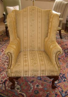CHIPPENDALE BALL AND CLAW WING CHAIR BY THE BIGGS FURNITURE COMPANY