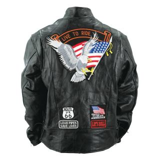 Black Leather Motorcycle Biker Cruiser Jacket Coat Patches