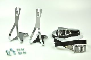 Bike Pedal Steel Toe Clips Leather Straps Set Black