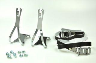 Bike Pedal Steel Toe Clips Leather Straps Set Black