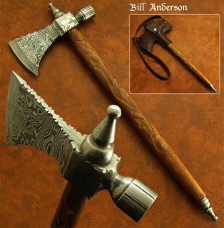 Bill Andersons HAND FORGED DAMASCUS PIPE TOMAHAWK KNIFE, HATCHET, AXE