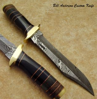 Hand Made by Bill Anderson 1 of A Kind RARE Custom Damascus Bowie